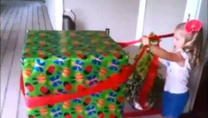 Little Girl Unwraps The Gift Of A Lifetime