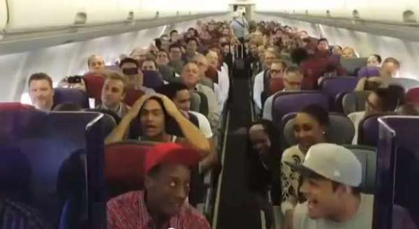 Lion King Cast Performs The Circle Of Life On Their Flight Back to Australia.