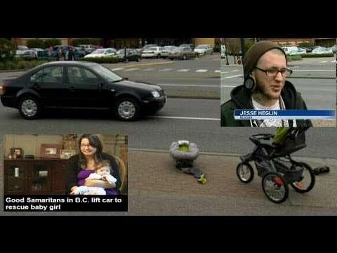 bystanders lift car off baby