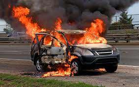 burning suv