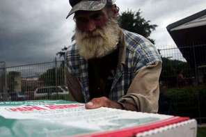 Delivering Pizza To The Homeless