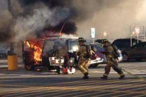 70 Year Old Woman Rescues Man From Burning Van