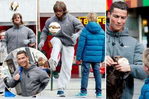 Cristiano Ronaldo Wears A Disguise And Surprises Child By Playing Soccer With Him