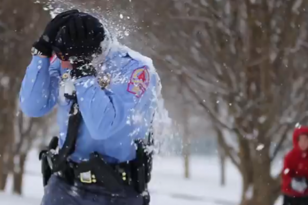 policeman hit with a snowball