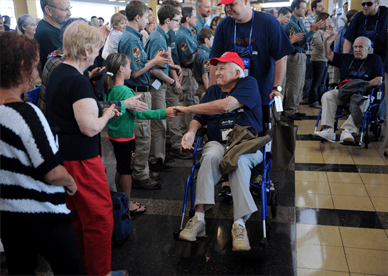war veterans greeted