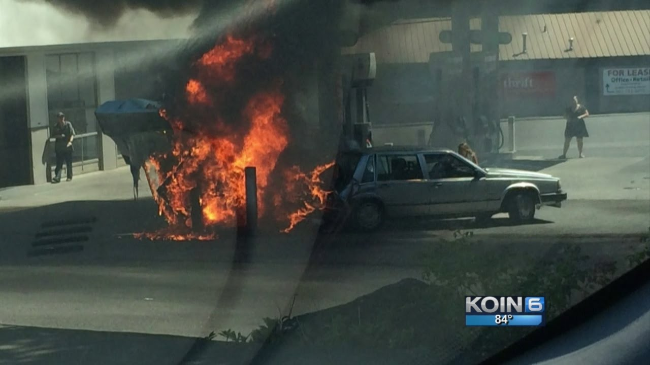 Hero Pulls Woman From Burning Car At Gas Station