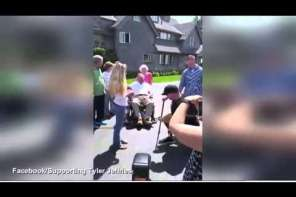 Wounded Soldier Proposes To Girlfriend In Front Of Two Former Presidents