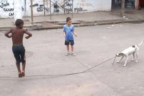Dog Plays Jump Rope With Children