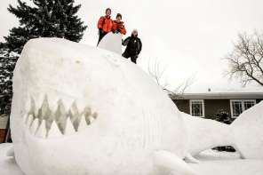 Every Year These Three Brothers Make A Giant Snow Sculpture In Their Yard
