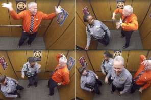 Sheriff's Deputy Has A Dance Party In An Elevator