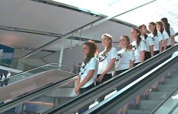 mob of irsh dancers take over airport