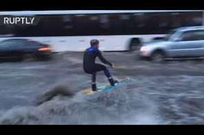 Russian Wakeboards Down Flooded Street In Moscow
