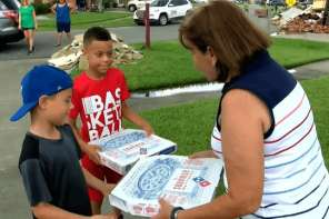 Boy Delivers Pizzas To Flood Victims On His Birthday