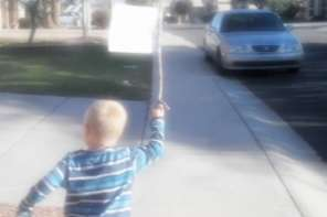 One Child Reminds The Country About The United States Constitution On Election Day By Carrying A Banner Of The Constitution