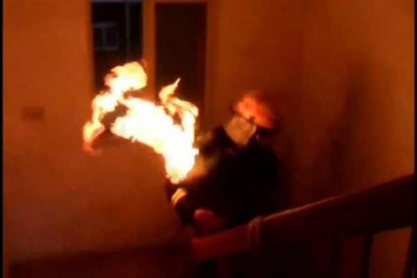 FIREFIGHTER_ burning gas tank