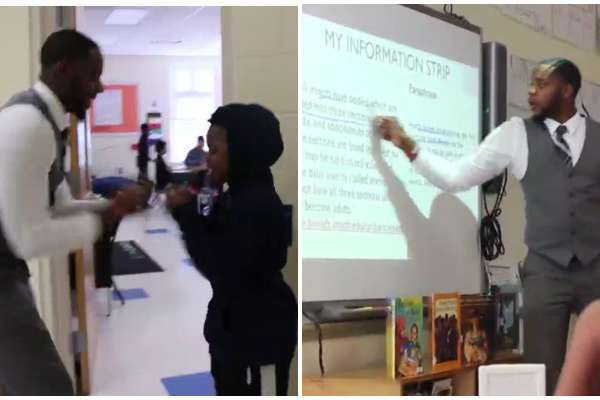 Teacher with personalized handshakes