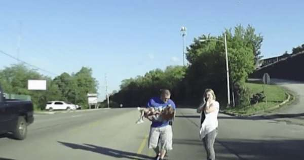 off duty fireman rescues four year old who fell out of bus