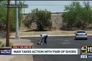 Samaritan Gives Pair Of Shoes To Man In Scorching Arizona Heat