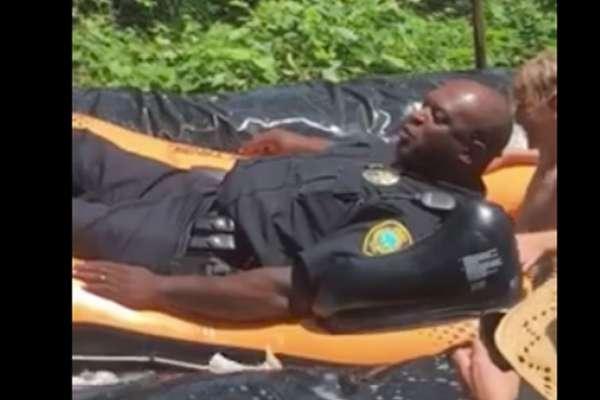 police officer slip and slide