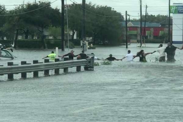 hurricane harvey human chain