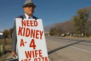 Man Uses Sandwich Board To Raise Money For Kidney Transplant For His Wife