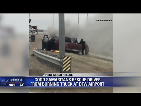 good samaritans pull man from burning truck