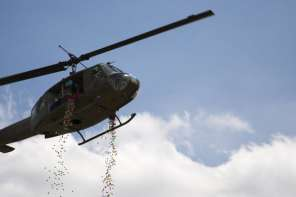 Military Helicopter Drops Easter Eggs For Kids