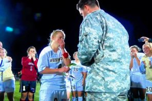 Returning Soldier Proposes To Soccer Captain