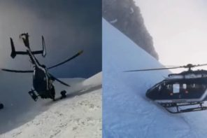 Amazing Helicopter Rescue: Helicopter Pilot Flies Within Inches Of Mountainside To Rescue Skier