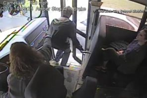 Bus Driver Stops Student From Getting Hit By Speeding Car