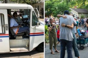 Entire Neighborhood Throws A Retirement Party For Mailman