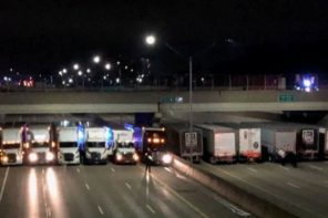 Trucks Line Up Under Bridge To Prevent Suicide Attempt