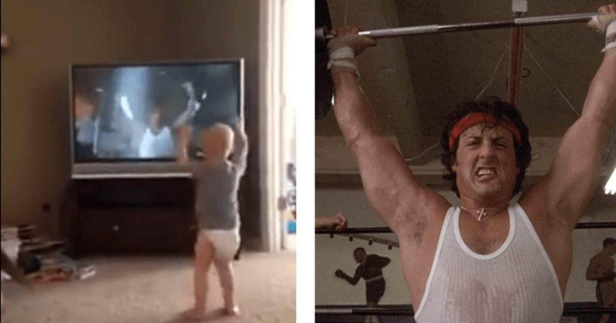 Baby Imitates Rocky On TV