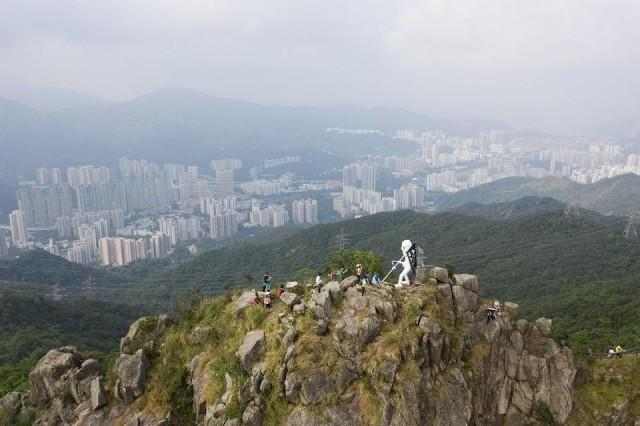 Lady Liberty Statue Was Erected On Mountain Top Above Hong Kong By Freedom Movement