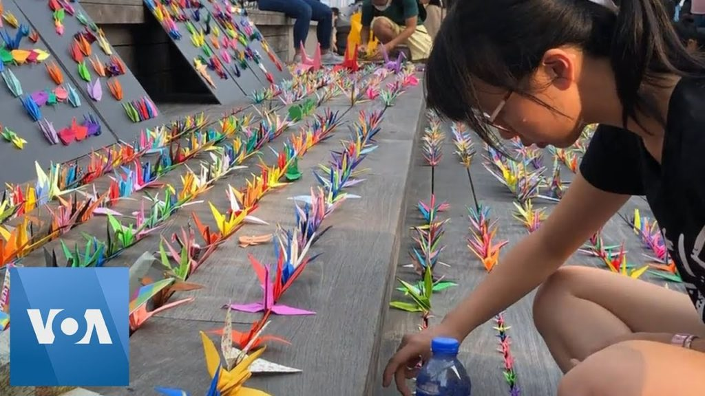 Hong Kong Protesters For Freedom Use Origami Cranes